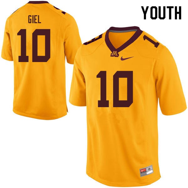 Youth #10 Paul Giel Minnesota Golden Gophers College Football Jerseys Sale-Gold