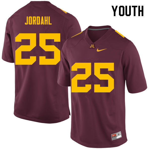 Youth #25 Payton Jordahl Minnesota Golden Gophers College Football Jerseys Sale-Maroon