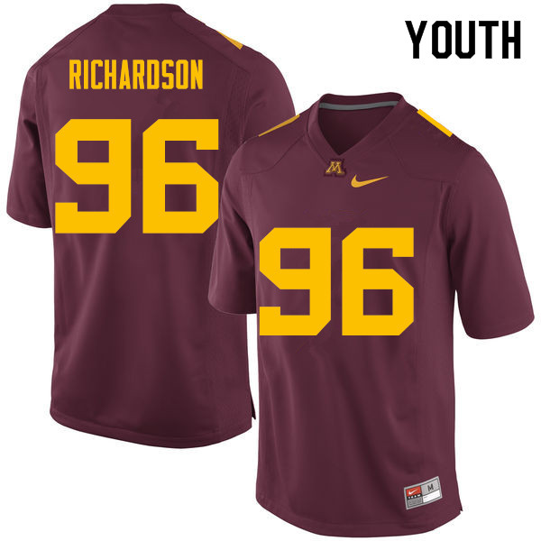 Youth #96 Steven Richardson Minnesota Golden Gophers College Football Jerseys Sale-Maroon
