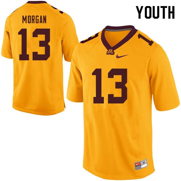 Youth #13 Tanner Morgan Minnesota Golden Gophers College Football Jerseys Sale-Gold