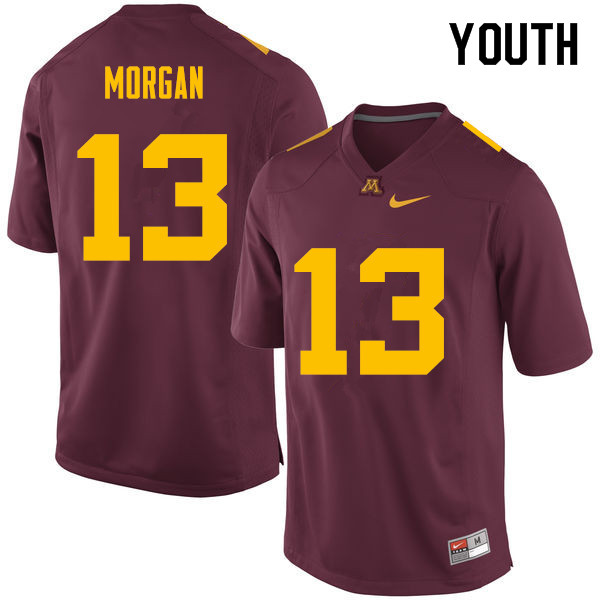 Youth #13 Tanner Morgan Minnesota Golden Gophers College Football Jerseys Sale-Maroon