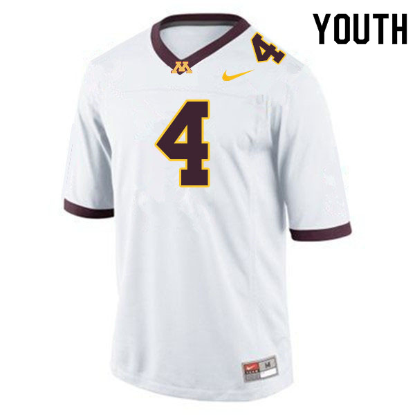 Youth #4 Terell Smith Minnesota Golden Gophers College Football Jerseys Sale-White
