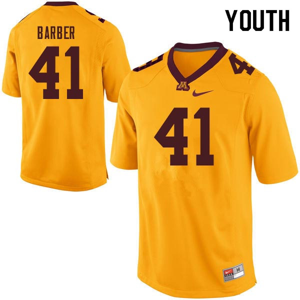 Youth #41 Thomas Barber Minnesota Golden Gophers College Football Jerseys Sale-Gold