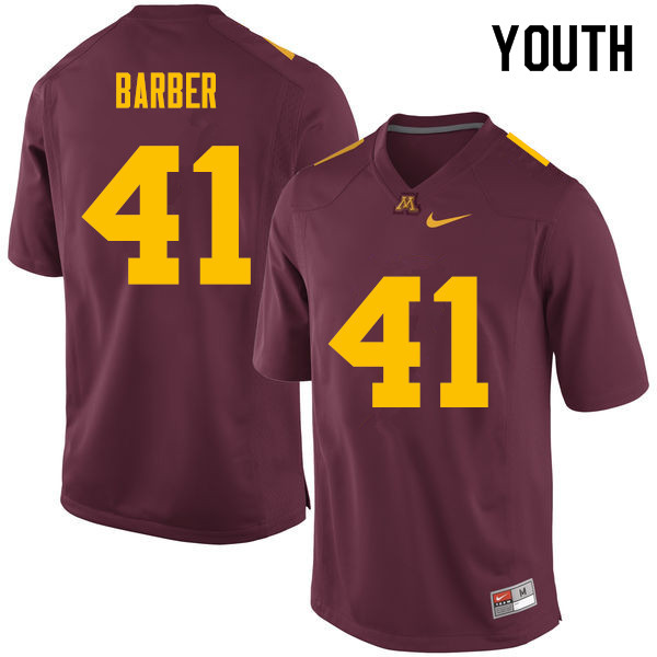 Youth #41 Thomas Barber Minnesota Golden Gophers College Football Jerseys Sale-Maroon