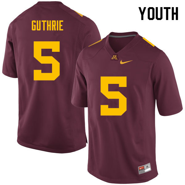 Youth #5 Trenton Guthrie Minnesota Golden Gophers College Football Jerseys Sale-Maroon