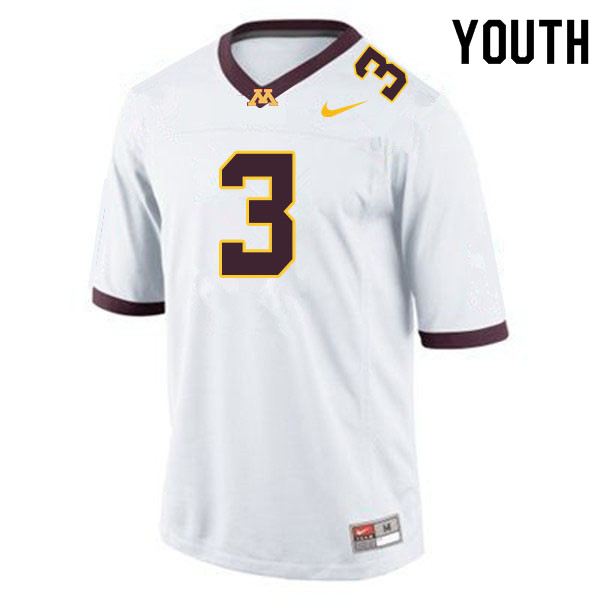 Youth #3 Treyson Potts Minnesota Golden Gophers College Football Jerseys Sale-White