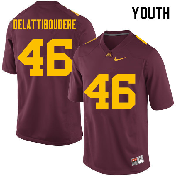 Youth #46 Winston DeLattiboudere Minnesota Golden Gophers College Football Jerseys Sale-Maroon