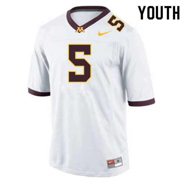 Youth #5 Zack Annexstad Minnesota Golden Gophers College Football Jerseys Sale-White