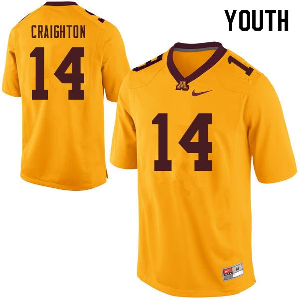 Youth #14 Zo Craighton Minnesota Golden Gophers College Football Jerseys Sale-Gold