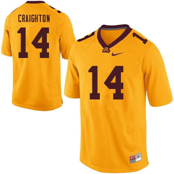 Men #14 Zo Craighton Minnesota Golden Gophers College Football Jerseys Sale-Gold